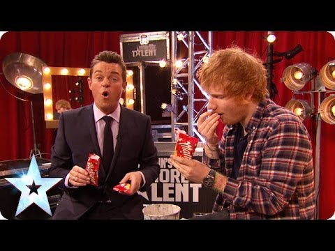 How much chocolate can Ed Sheeran fit into his mouth? | Britain's Got More Talent 2014