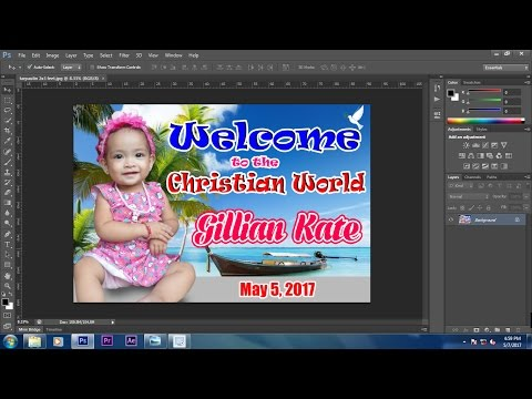 How to Make a Baptism/Christening Tarpaulin Design in all adobe photoshop