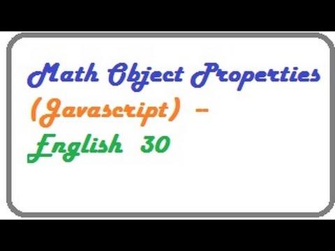 Math Object Properties in Javascript  --   English 30
