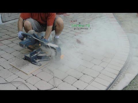 cutting concrete blocks by miter saw