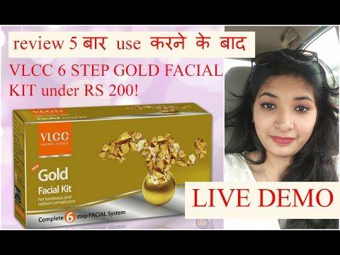 VLCC gold facial kit REVIEW & LIVE DEMO step by step at home in HINDI  6 step facial