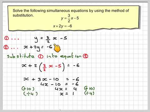 Solving simultaneous equations using the method of substitution