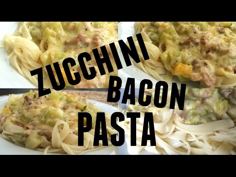 Pasta with zucchini, pepper and bacon || DariaBeauty