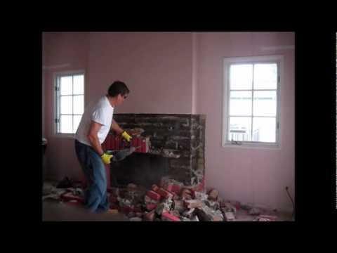 Brick Fireplace Versus Virgin Makita Electric Hammer Operator