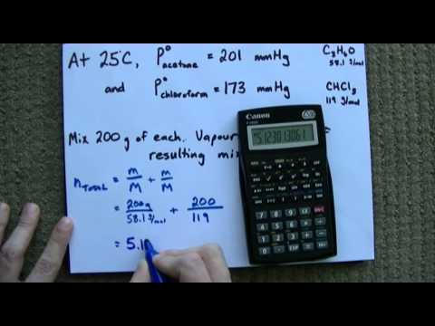 Raoult's Law + Example (Vapour Pressure of Mixture)