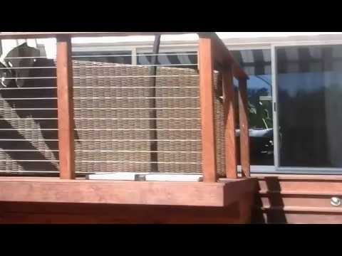 Multi-level Mangaris deck with cable railing