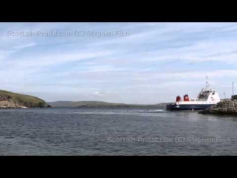 Ferry departing Gutcher Yell Shetland Scotland