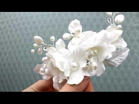 White Silk Flower Bridal Hair Comb - ANS-7759