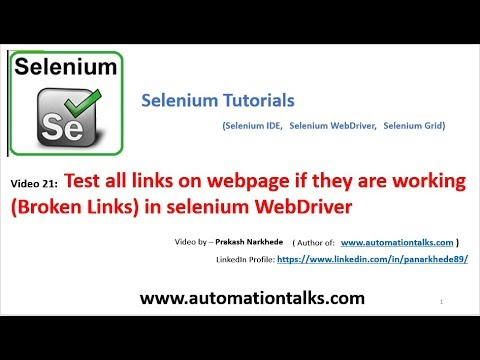 Selenium Video 21 - Test All Links On Webpage (broken Links) In Selenium Webdriver