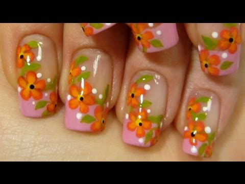 Pink French with Summery Red & Orange Flower Vine Design Colorful Nail Art Tutorial