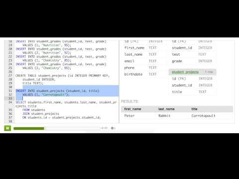 Joining related tables with left outer joins | Computer Programming | Khan Academy