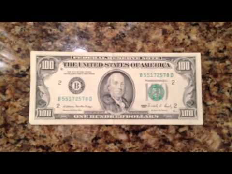 Vintage Money Old School 100 Dollar Bill