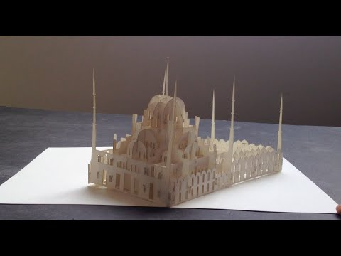 3D Blue Mosque Pop-up Card - Origamic Architecture, Kirigami Paper Art