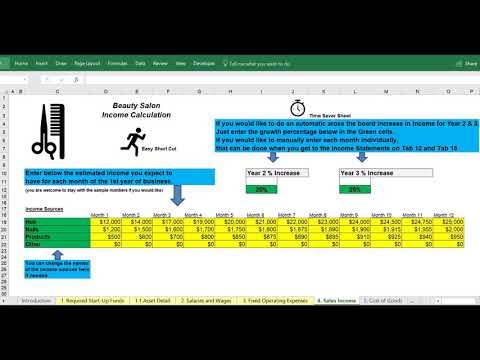 Salon Financial Statement Projections Excel Example Excel Template for a business plan
