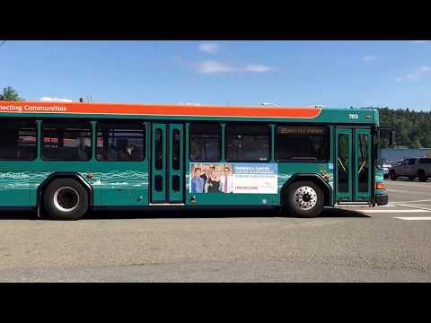 Kitsap Transit buses departing Bainbridge Island Ferry Terminal