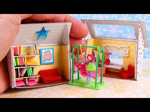 DIY Miniature Matchbox Dollhouse & Swing & Cat
