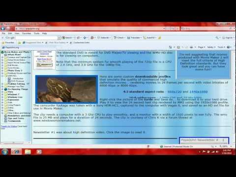 How To Make HD Videos Using Windows Movie Maker XP (Or 2.6 For Vista or Windows 7)