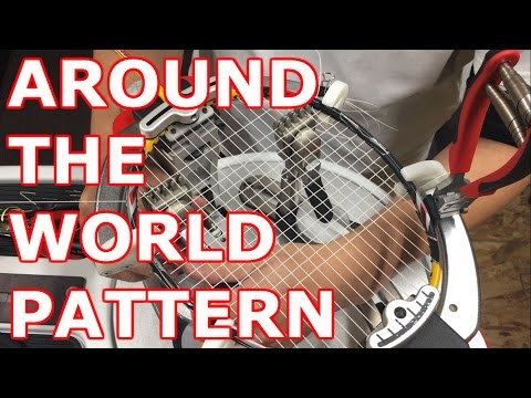 strings a badminton racket(AROUND THE WORLD PATTERN)
