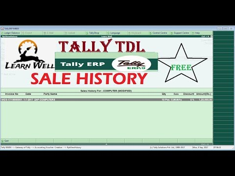 TALLY ERP - SALE ITEM HISTORY VIEWER