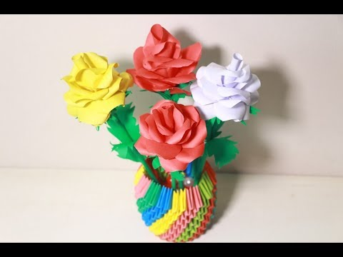 Make origami flower rose | Step By Step Tutorial | origami Rose flower bouquet