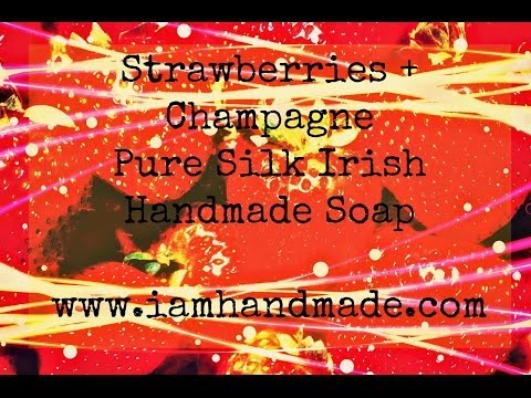Making Strawberries + Champagne Pure Silk Soap www.iamhandmade.com