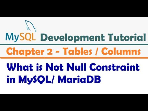 What is Not Null Constraint in MySQL- MySQL Developer Tutorial