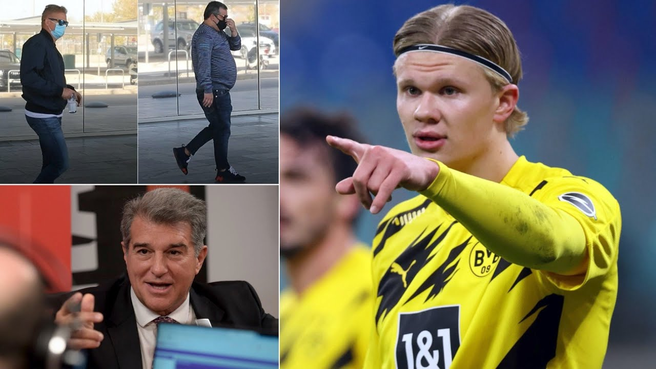 Joan Laporta MEETS with Erling Haaland's father & Mino Raiola over a summer transfer to Barcelona