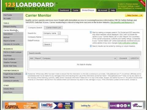 123loadboard - Carrier Monitor