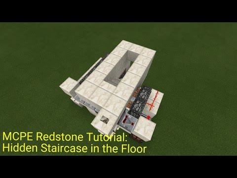 Minecraft Pocket Edition Redstone Tutorial: Hidden Staircase in the Floor (MCPE 1.0.5)