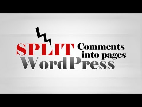 How to split Comments into pages on Post in WordPress