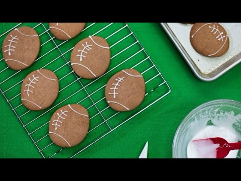 How to make Football shaped Super Bowl Cookies