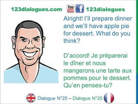 Dialogue 25 - English French Anglais Français - Invite someone to dinner - Inviter quelqu'un à dîner