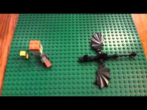 Lego Minecraft mob battles ender dragon vs zombie, mutant snow golem, iron golem, and creeper!