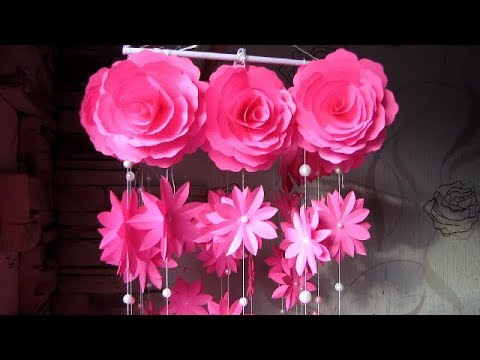 DIY. Wind Chime with Beautiful Paper Roses. Newspaper Craft Wall Hanging.  Декор для дома