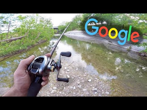 Google Maps URBAN Creek Fishing CHALLENGE!