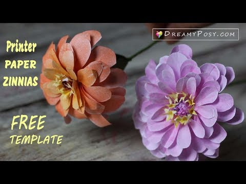 [FREE template] How to make paper Zinnias flower from printer paper, SO SIMPLE