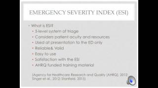 Emergency Department Triage and ESI