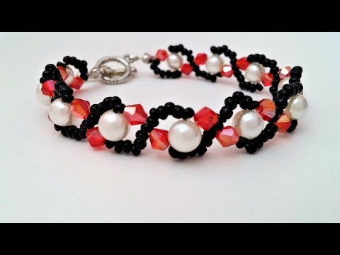 How to make an easy crystal and pearl bracelet - Mother's day gift