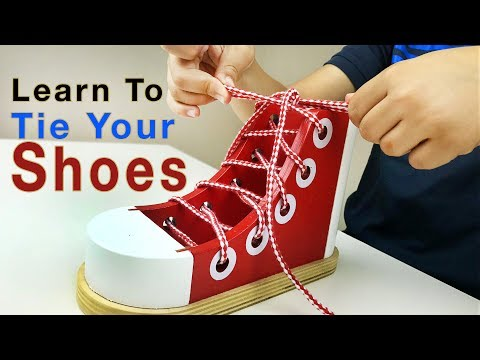 Learn how to TIE YOUR SHOES with Melissa & Doug wooden shoe for children. Let's Play Kids.