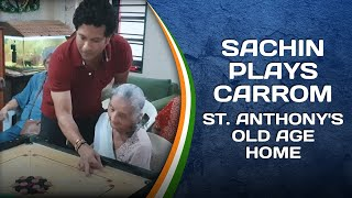 Sachin Tendulkar plays carrom with the residents of St. Anthony's Old Age Home   #SportPlayingNation