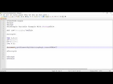 JavaScript - Simple Variable Example with String