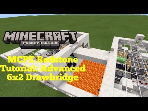 Minecraft Pocket Edition Redstone Tutorial: Advanced Drawbridge v1.1 (MCPE 1.1.0)