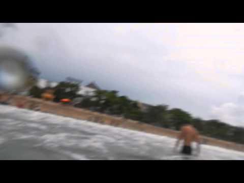 Kuta beach waves crashing
