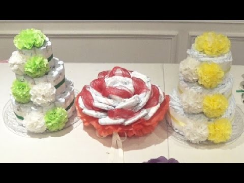 DIY: Diaper Cake Gift. Baby Shower - DIY VIDEOS