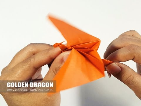 Origami for Kids: How to make a paper Dragon that can flap wings | Golden Dragon