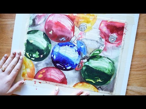 Painting Refelections in Watercolors~ Holiday Ornaments