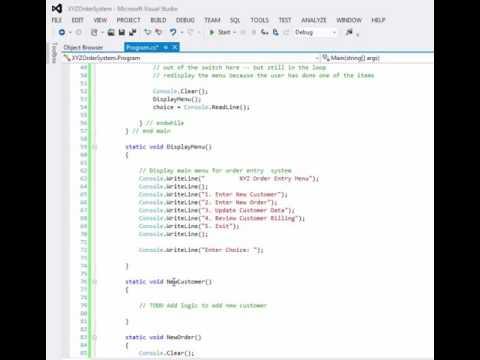 Menu-Driven Program Example - C# - Part 2