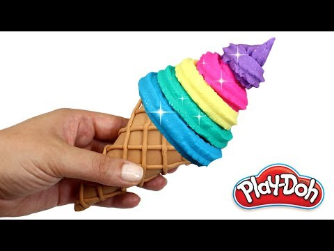 DIY Play Doh Ice Cream | How to Make Rainbow Ice Cream Cone with Play Doh