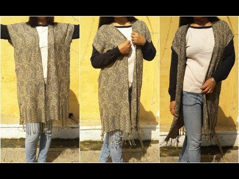 Convert Old Stole Into Shrug In 10 Min | DIY Easy Long Shrug