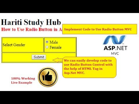 How to Use Radio Button in Asp.Net MVC   Hindi   Pass Data View to Controller   Free Online Classes